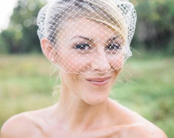 plain birdcage veil, wedding birdcage veil, bandeau birdcage veil, simple bridal veil, simple birdcage veil, ivory birdcage veil, blusher