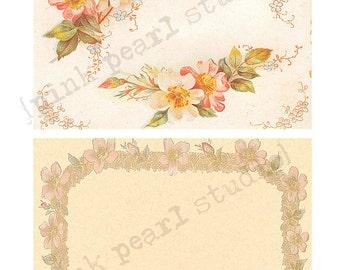 "Set of Ornate Floral Peach Frames for Background Digital Prints in 2 - 5x7"" Format Altered Art, ATC, Scrapbooking"