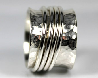 Wide Dimpled Multi Spinner, Sterling Silver Rings, Fidget Ring, Customize, Meditation Ring, Anxiety Worry Ring, Statement Band, Gift Ideas