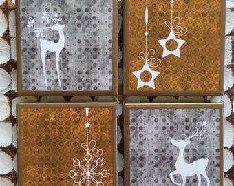COASTERS!!!! Beautiful set of 4 ceramic Christmas coasters with gold trim