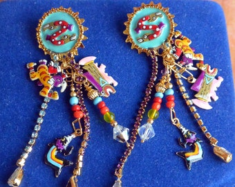Lunch at the Ritz Earrings - Inca Trinkets, Signed, Pierced - Free US Shipping - Vintage - Fabulous!