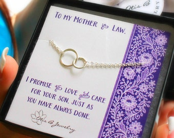 Mother of the groom card and eternity necklace set, wedding jewelry for mom, mother in law gift, sterling silver, two rings, interlocked