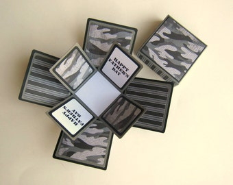 Father's Day Card Exploding Box Black and Gray Camouflage