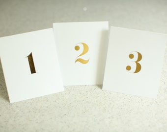 Small Folded Gold Foil Table Numbers - Bold