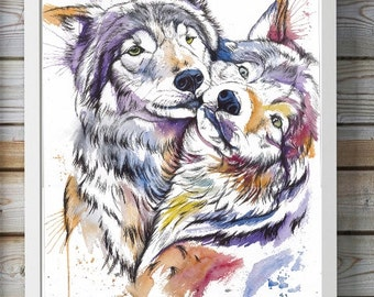 2Prints colorfull wolf and fox