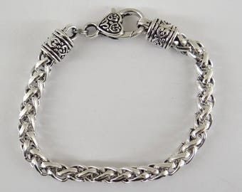 Platinum silver metal bracelet with carabiner for fca041 charms