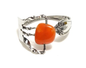 Sale, Fork Bracelet with Stone (Red Agate) Cuff, Women, Men, Teen, Mirror Finished,