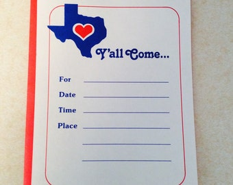 Ya'll Come Party Invitations 8 Pack Texas