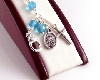 St Michael The Archangel Rosary Bracelet in Aqua Blue Czech Glass by Unbreakable Rosaries