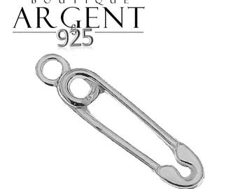 Sterling Silver 925 15.8 X 3.7 mm - safety pin - pendant charm