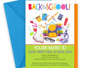Back to School Invitations, Back to School Party Invitation, School Invitation, School Party, Back to School Bash, School Party Invite | 632