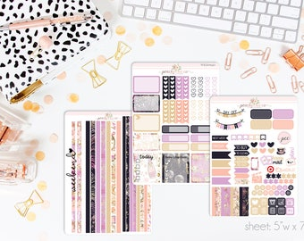 Happy New Year 2018 HORIZONTAL Weekly Kit // 130+ Matte Planner Stickers // Perfect for your Erin Condren Life Planner // WKH0940