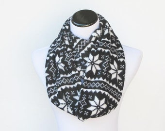 Black and white fair isle infinity scarf warm winter fleece snood scandinavian scarf loop scarf Christmas gift for mom gift for girl