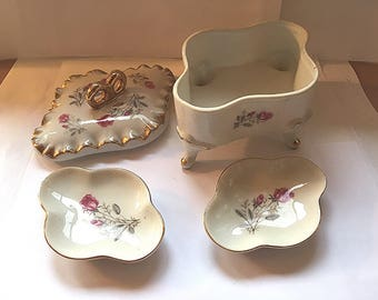 Ceramic Jewelry/Trinket Box & 2 Ring Dishes
