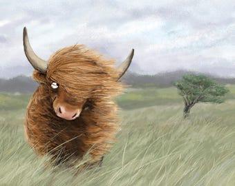 Scottish Highland Cow Art Illustration Print