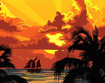 Sunset and Ship - Maui, Hawaii (Art Prints available in multiple sizes)