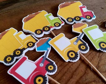 Construction Party - Set of 12 Double Sided Assorted Dump Truck and Bulldozer Cupcake Toppers by The Birthday House