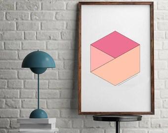 Geometric Printable Art, Modern Hexagon, Abstract Print, Minimal Print, Modern Art, Modern Printable, Coral Printable Art, Neutral Art