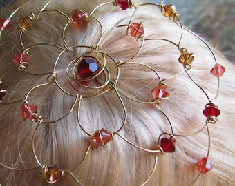 SPICED WINE kippah, gold color wire with swarovski center, swarovski crystals, wine, pink and gold, bat mitzvah headpiece