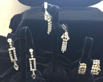 Vintage Rhinestone Earrings - 3 Pair