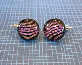 Pink Clip On Earrings, Pink Clip-on Earring, Fused Glass Jewelry, Ready to Ship, For Non Pierced Ears - Morris - 1874 -1