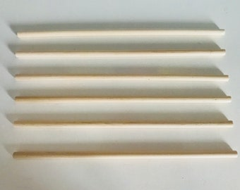 Set of 6 clear wood sticks