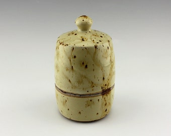 Ceramic Canister / Ceramic Jar / Storage container - Yellow with tree design