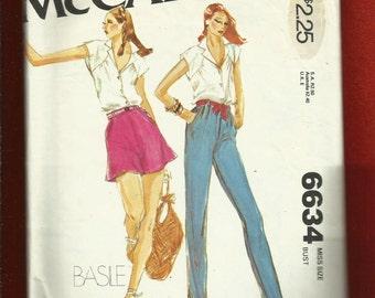 1970's McCalls 6634 Designer Basile Skinny Disco Jeans, Flared Shorts & Cap Sleeve Top  Sizes 8