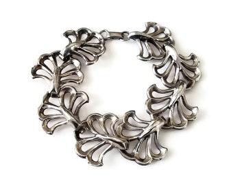 Art Nouveau Inspired Sterling Bracelet with Stylized Ginko Leaves - Mid Century Jewelry, Bracelets for Women, Silver Bangle Bracelet
