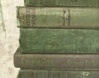 """Book Wall Art, Green Book Photography, Shabby Vintage Books, Antique Old Book Photo, Rustic Cottage Library Office Art- """"Green Gems"""""""