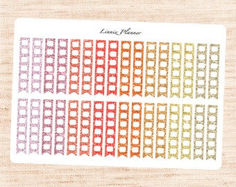 WARM Glitter Checklists (Matte planner stickers, fits perfect in Erin Condren Life Planner)