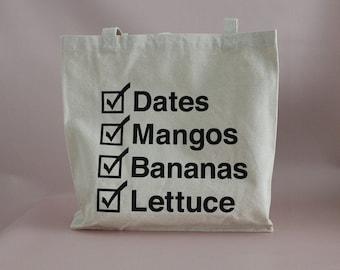 Bananas and Dates Totebag ~ Raw Food Grocery Tote ~ Vegan Totebag ~ Vegan Grocery Tote Bag ~ Farmer's Market Vegan Bag ~ Free Shipping USA