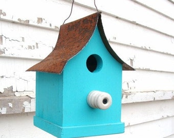 Rustic Blue Bird House,  Garden Decor, Recycled Bird House, Outdoor Birdhouse, Farm Insulator for Perch