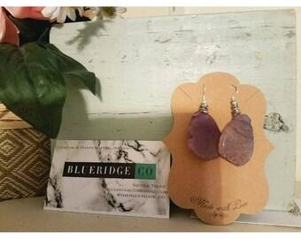 Oval Purple Amethyst Earrings