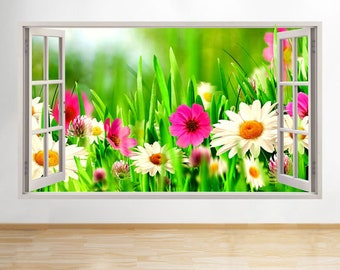 R911 Flowers Daisies Nature Living Window Wall Decal 3D Art Stickers Vinyl Room[Large (92x52)]