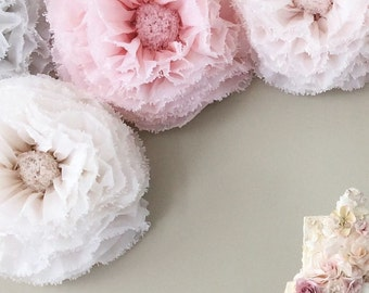 Blush paper flowers hand-dyed giant paper flower backdrop wall, blush, champagne, dove, ivory. UK wedding decor