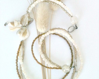 Triple Strand Beaded Shell Necklace Handmade, Beige Handmade Shell Necklace, Beige, Brown and Tan