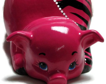 Ceramic Piggy Bank - Bright Pink - Zebra Stripes - Jungle Theme - Fashionista