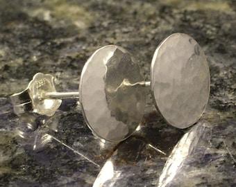 Small Hammered Silver Stud Earrings * Sterling Disk Posts * Simple Practical 24 Hour Wear Studs * Mens Ladies Girls Gift