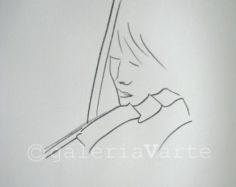 original charcoal drawing  - violinist - music - europeanstreetteam