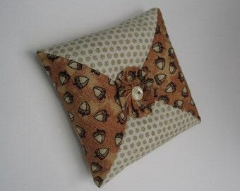 Square Pincushion Embellished w/ YoYo & Buttons, Crushed Walnut Filling