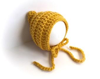 Mustard Baby Bonnet, Newborn Boys or Girls, Newborn Prop, Knit Hat, Crochet Baby Bonnet, Newborn Baby Bonnet, Newborn Bonnet, Knit Bonnet