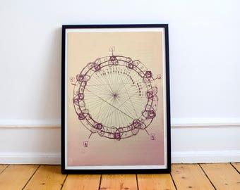 John Coltrane Circle of Fifths Mandala Distressed  Meditation Music Grunge Hippie Art Print Poster  Design no frame 20x30 Large