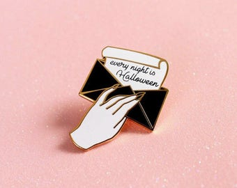 NEW! Addams Family Every Night is Halloween Hard Enamel Gold Metal Cloissone Lapel Pin Goth Horror Birthday 1.25""
