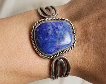 Native American Southwestern Vintage Sterling Silver Navajo Lapis Azuli Cuff Bracelet