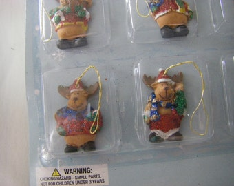 MINIATURE sparkle dressed REINDEERS package of 12-little over 1""