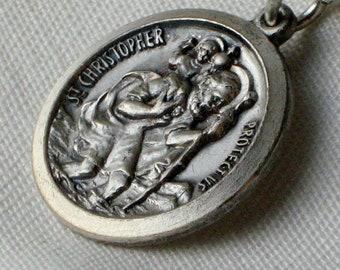 St Saint Christopher Vintage Necklace Medal Charm Safe Travels Protect Us Pendant Jesus Relic Icons Roman Catholic Religious 1960's 1970's