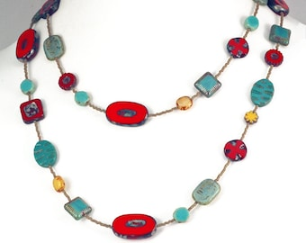 Red, Turquoise and Yellow Long Czech Galss Bead Necklace