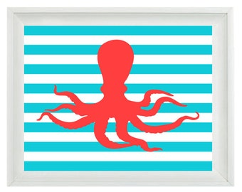 Octopus Beach Nautical Sea Creature Art Print Set - Nursery Children Room Aqua Red - Wall Art Home Decor