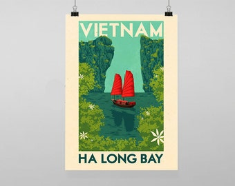 Vietnam Ha Long Bay Travel - Vintage Reproduction Wall Art Decro Decor Poster Print Any size